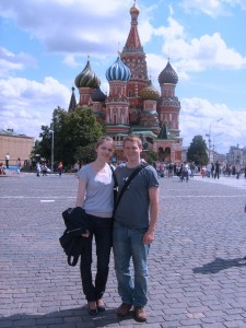 Alena and Thiemo on the Red Square in front of the Basilius Cathedral